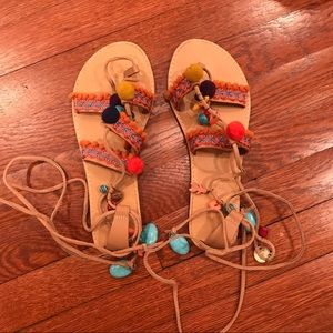 MIA Tassel gladiator sandals with Pom poms